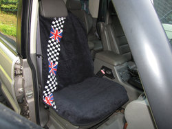 Seat Armor Seat Towel - Terry Cloth Checkered & Black - Pair